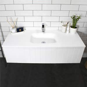 FLOW Solid Surface Vanity Top, w/ Integrated Basin 750mm Matte White