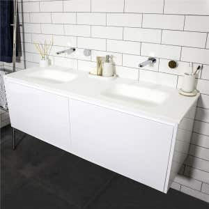 FLOW Solid Surface Vanity Top, w/ Two Integrated Basins 1500mm Matte White