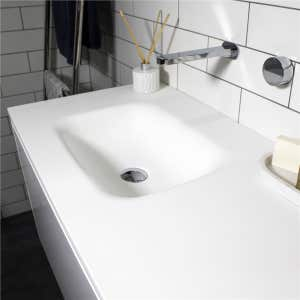 FLOW Solid Surface Vanity Top, w/ Two Integrated Basins 1800mm Matte White