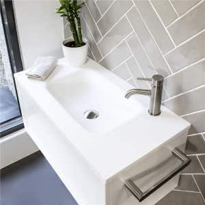FLOW Slim Solid Surface Vanity Top, w/ Integrated Basin 900mm Matte White
