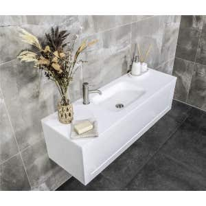 FLOW Slim Solid Surface Vanity Top, w/ Integrated Basin 1200mm Matte White