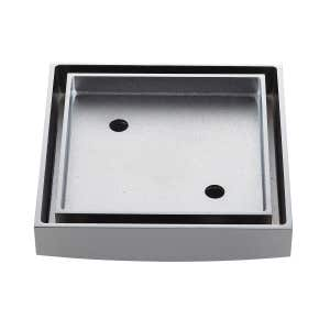 LIDO Square Tile Grate 125mm with DN100 Outlet Chrome