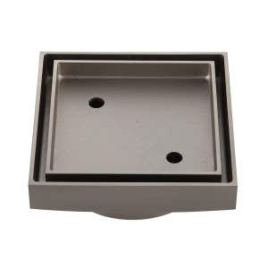 LIDO Square Tile Grate 125mm with DN100 Outlet Brushed Nickel