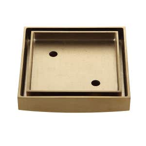LIDO Square Tile Grate 125mm with DN100 Outlet Brushed Brass