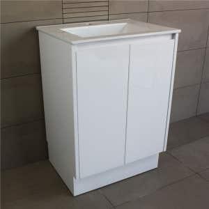 OMEGA Floor Mount Vanity 600mm Gloss White