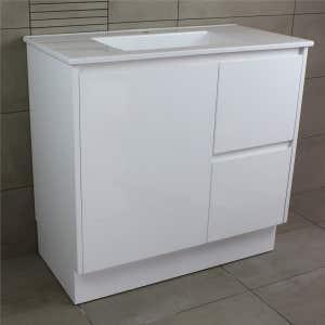 OMEGA Floor Mount Vanity 900mm Gloss White