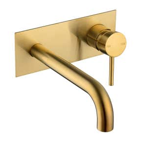 SPIN In Wall Mixer & 200mm Spout Brushed Brass